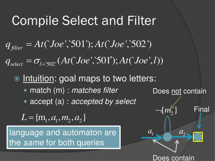 Compile Select and Filter