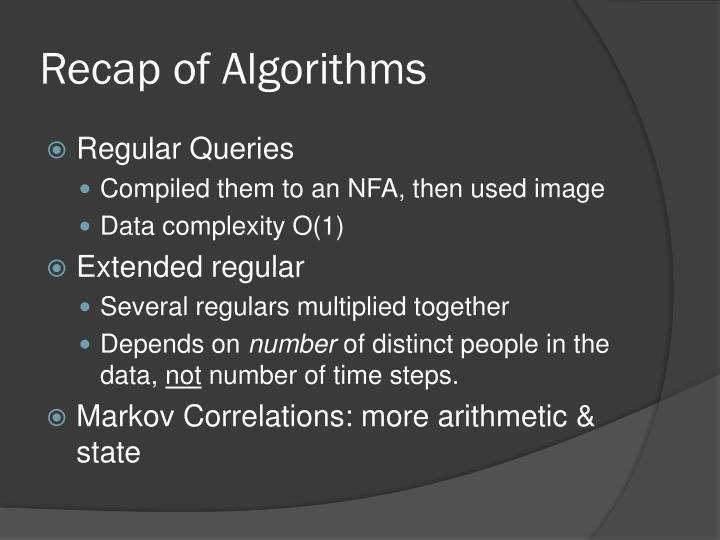 Recap of Algorithms
