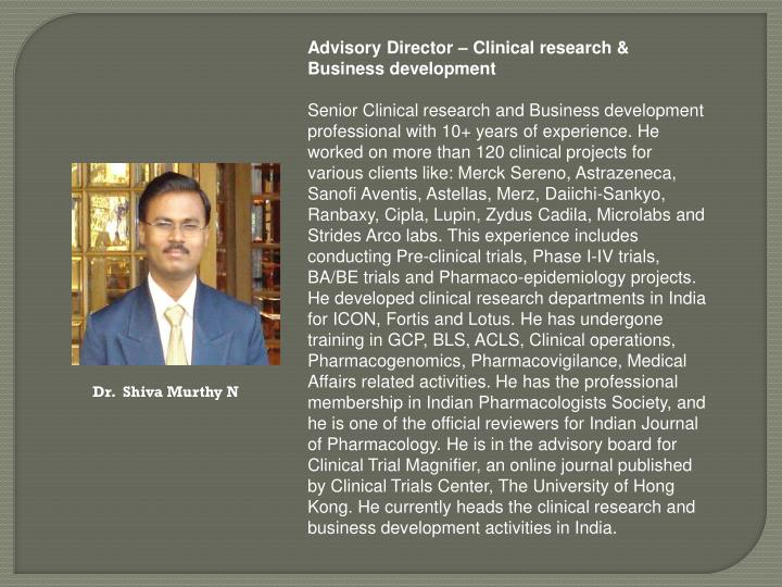 Advisory Director – Clinical research & Business development