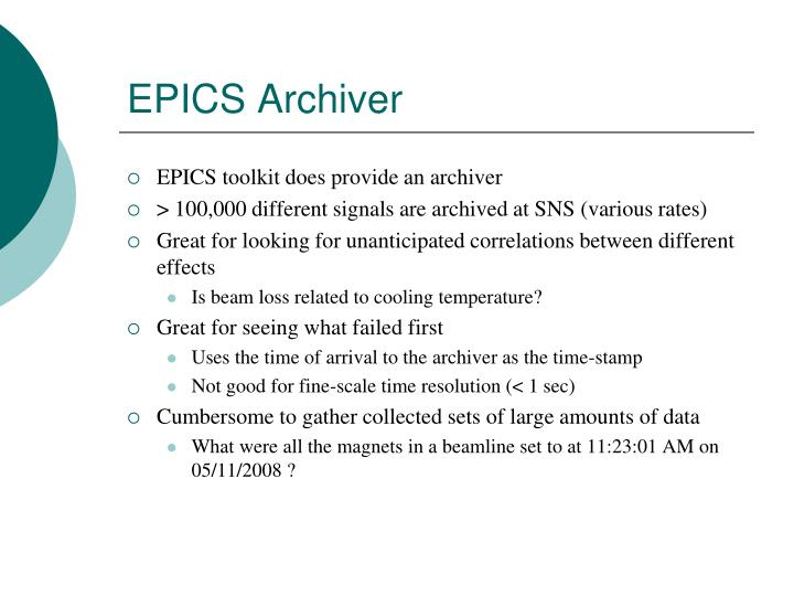 Epics archiver