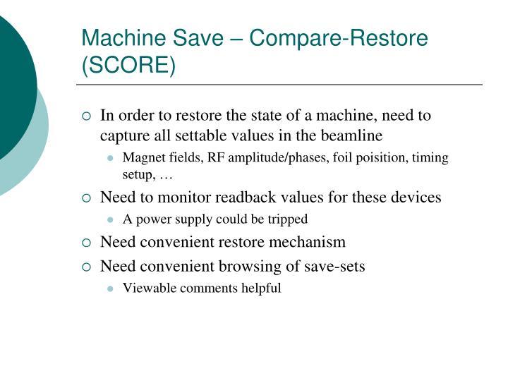 Machine Save – Compare-Restore (SCORE)