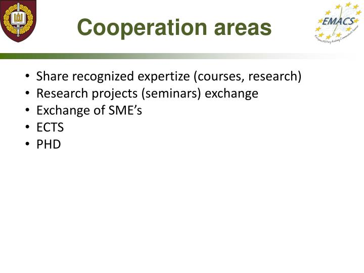 Cooperation areas