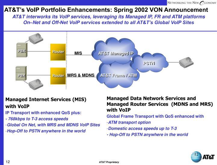 AT&T's VoIP Portfolio Enhancements: Spring 2002 VON Announcement