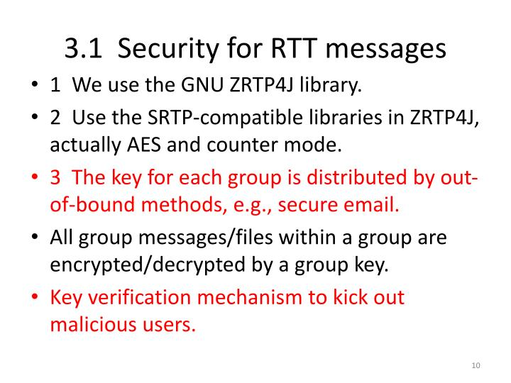 3.1  Security for RTT messages