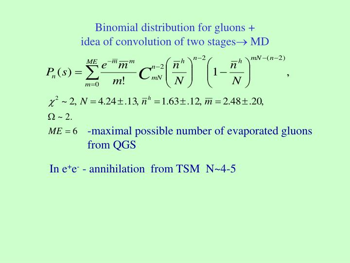 Binomial distribution for gluons +