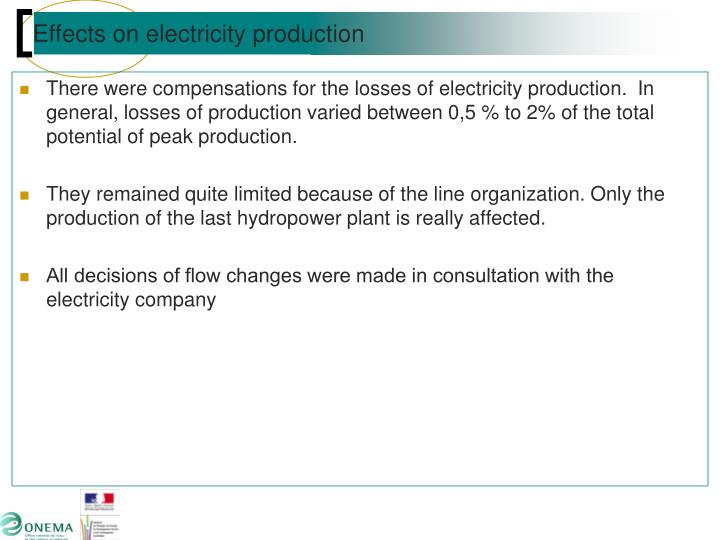 Effects on electricity production