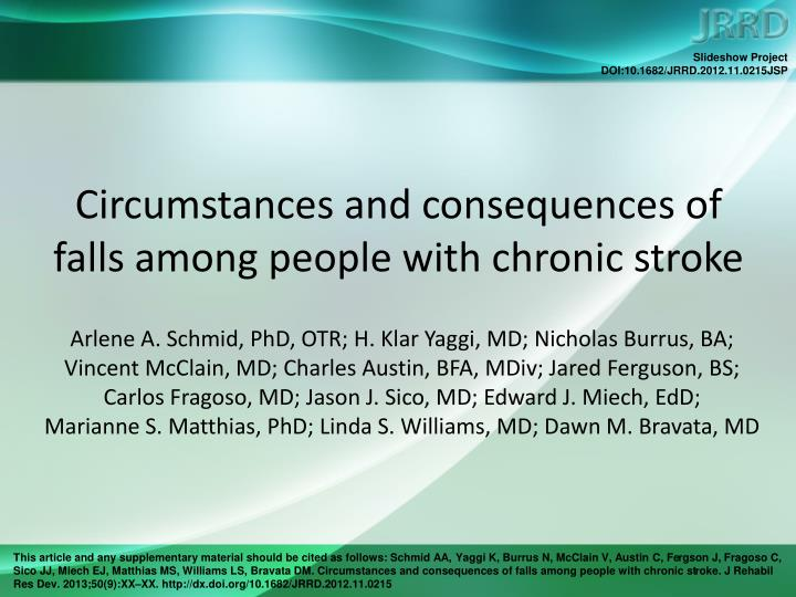 Circumstances and consequences of falls among people with chronic stroke