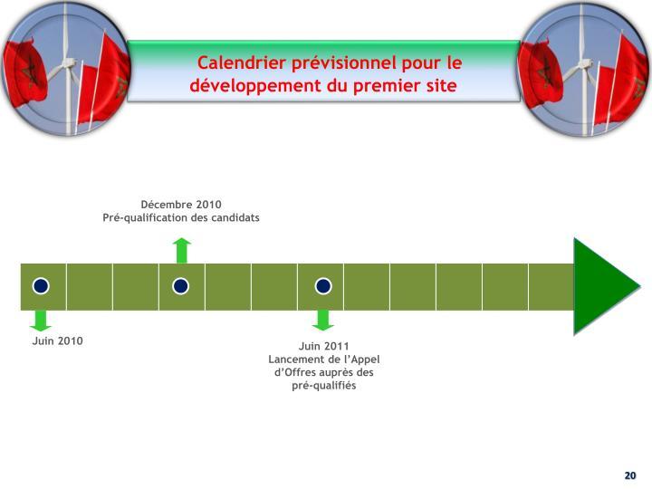 Calendrier prévisionnel pour le développement du premier site