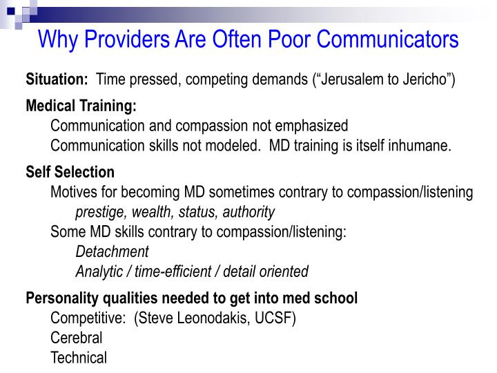 Why Providers Are Often Poor Communicators
