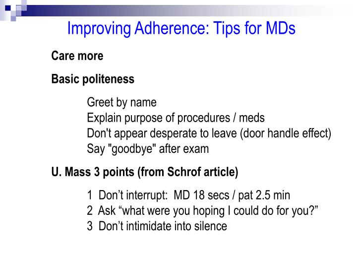 Improving Adherence: Tips for MDs