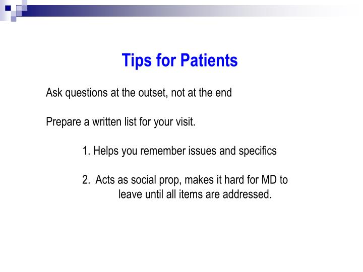 Tips for Patients
