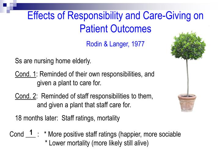 Effects of Responsibility and Care-Giving on Patient Outcomes