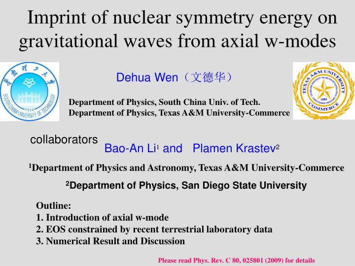 imprint of nuclear symmetry energy on gravitational waves from axial w modes n.