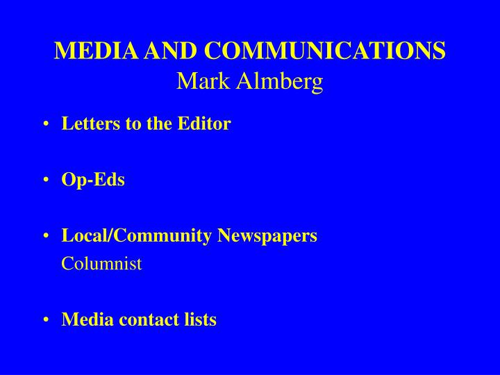MEDIA AND COMMUNICATIONS