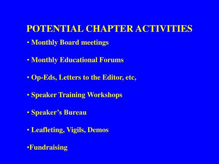 POTENTIAL CHAPTER ACTIVITIES