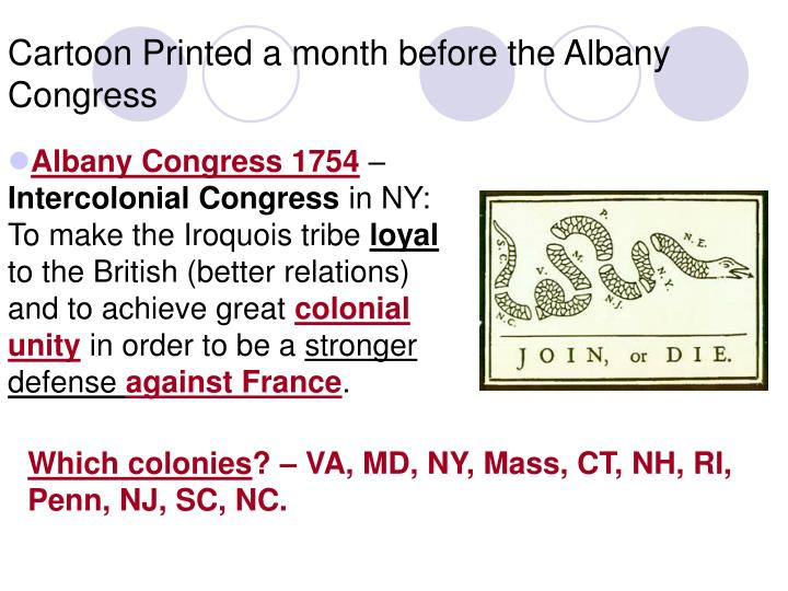 Cartoon Printed a month before the Albany Congress