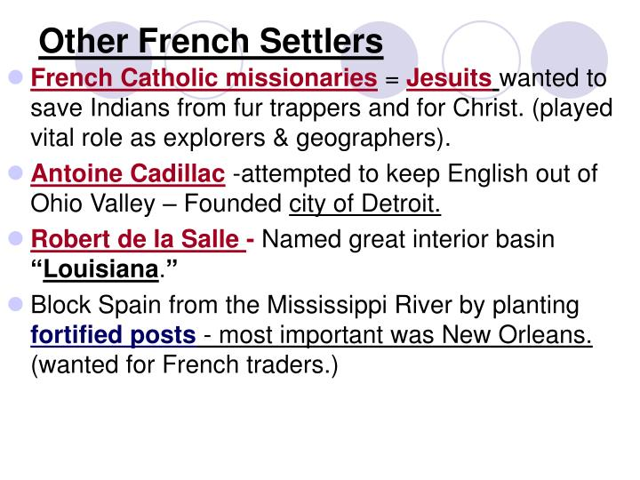 Other French Settlers