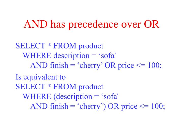 AND has precedence over OR