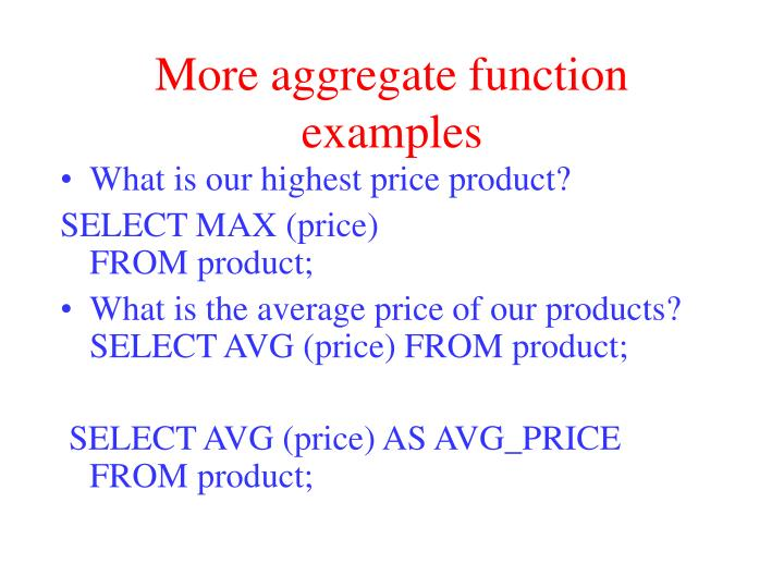 More aggregate function examples