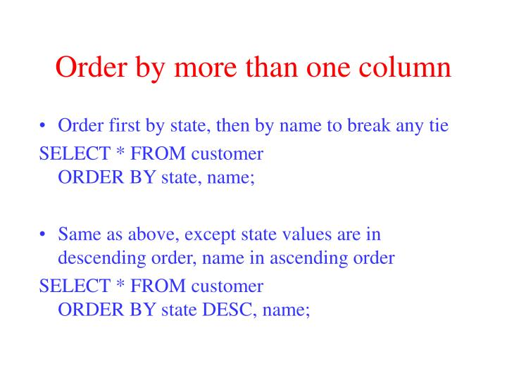 Order by more than one column