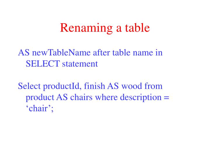 Renaming a table