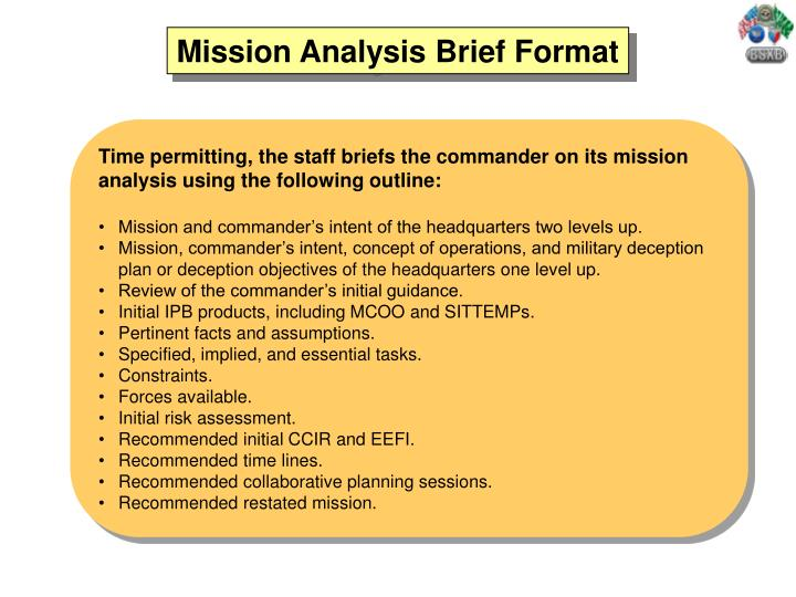 Military Mission Briefing Template Choice Image