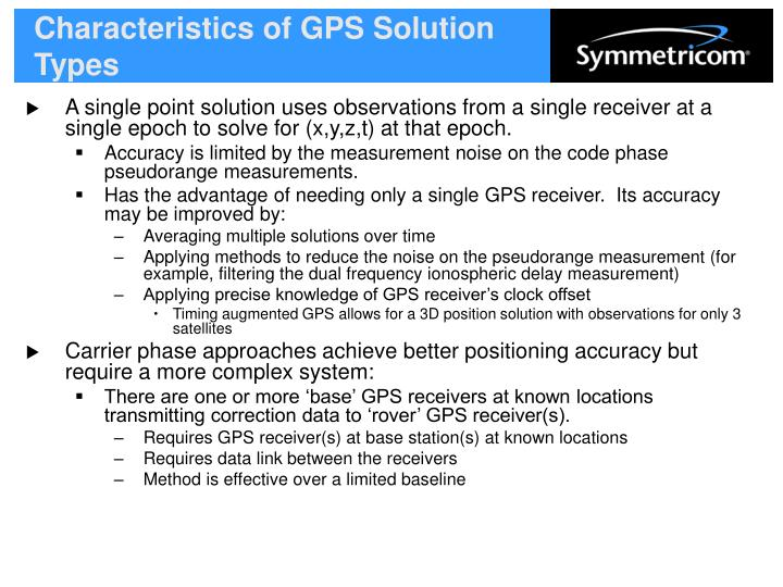 Characteristics of GPS Solution Types