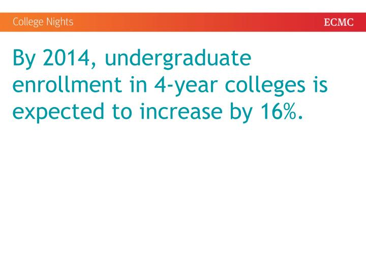 By 2014, undergraduate enrollment in 4-year colleges is expected to increase by 16%.