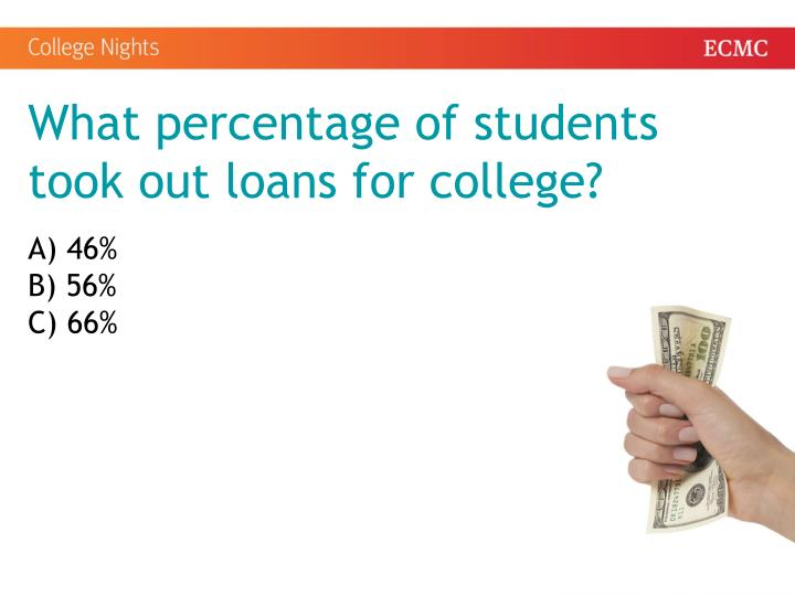 What percentage of students took out loans for college?