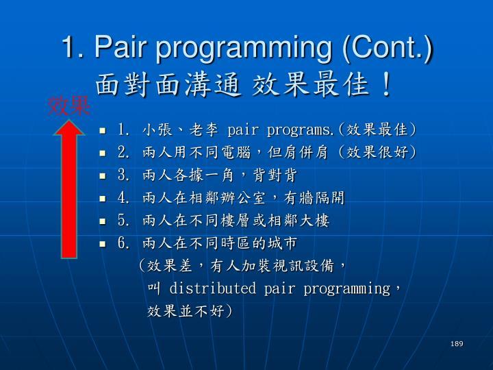 1. Pair programming (Cont.)