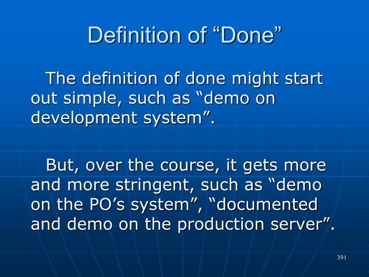 """Definition of """"Done"""""""