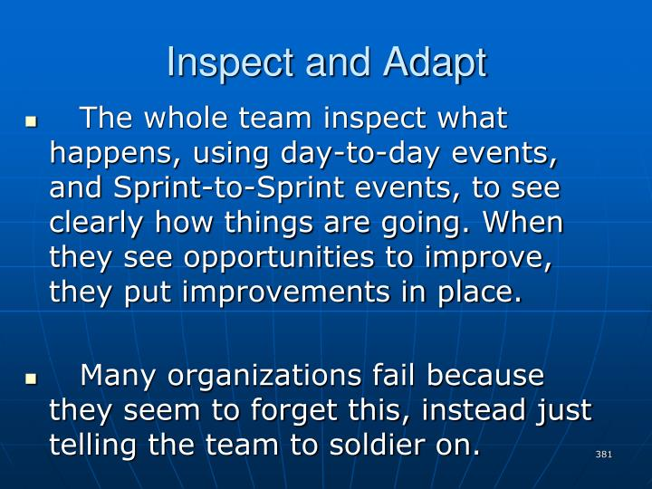 Inspect and Adapt