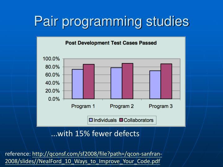 Pair programming studies
