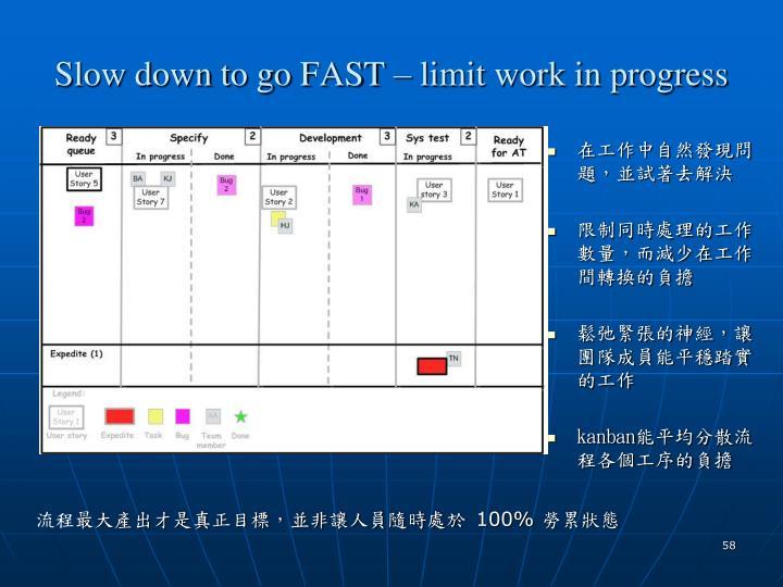Slow down to go FAST – limit work in progress