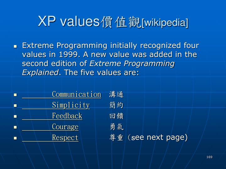 XP values