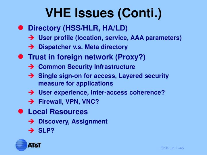 VHE Issues (Conti.)