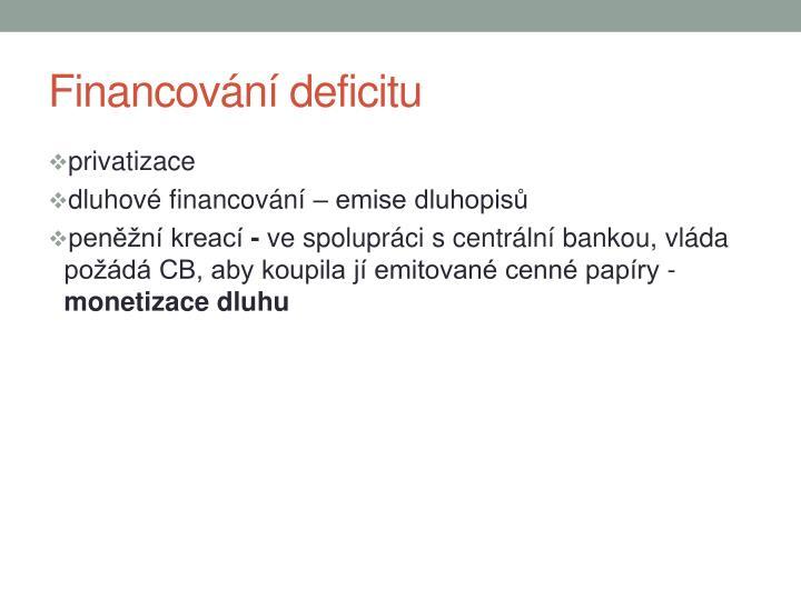 Financování deficitu