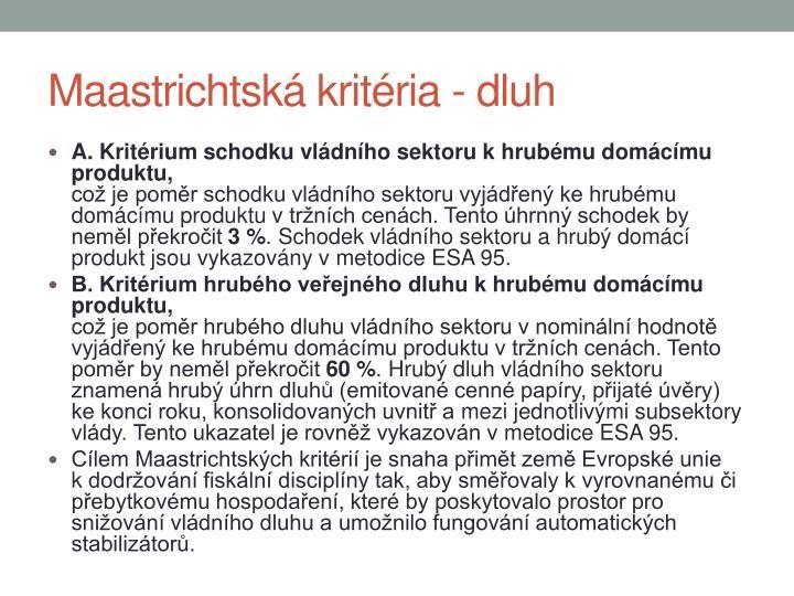 Maastrichtská kritéria - dluh
