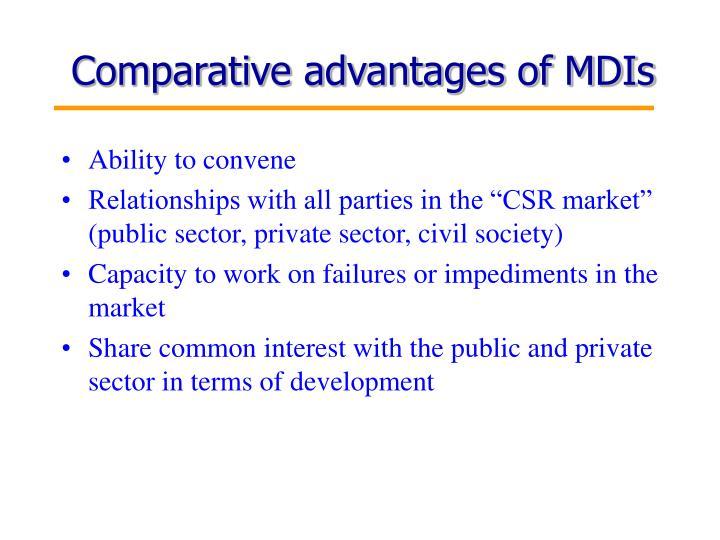 Comparative advantages of MDIs