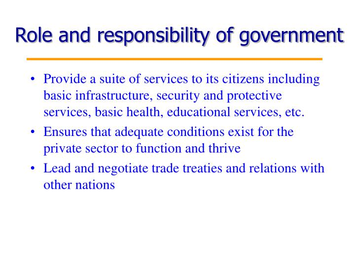 Role and responsibility of government