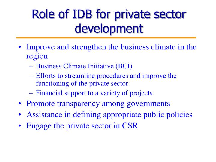 Role of IDB for private sector development