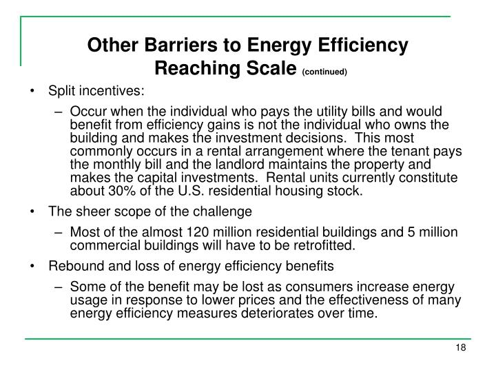 Other Barriers to Energy Efficiency