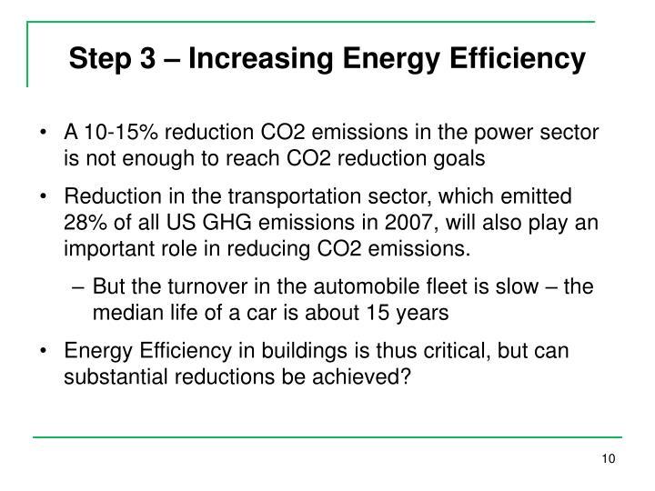 Step 3 – Increasing Energy Efficiency