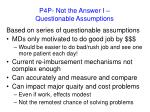 p4p not the answer i questionable assumptions