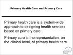primary health care and primary care