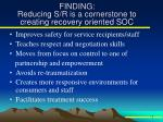 finding reducing s r is a cornerstone to creating recovery oriented soc