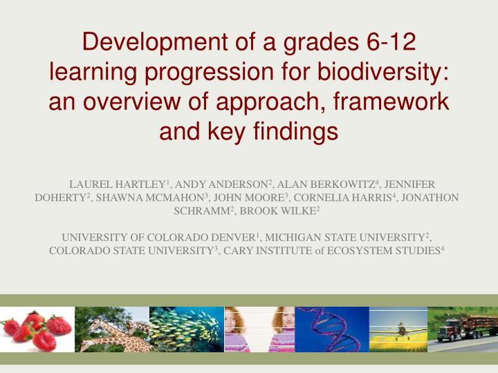 Development of a grades 6-12 learning progression for biodiversity: an overview of approach, framewo...