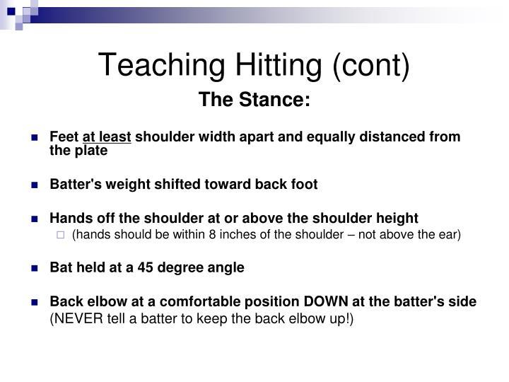 Teaching Hitting (cont)