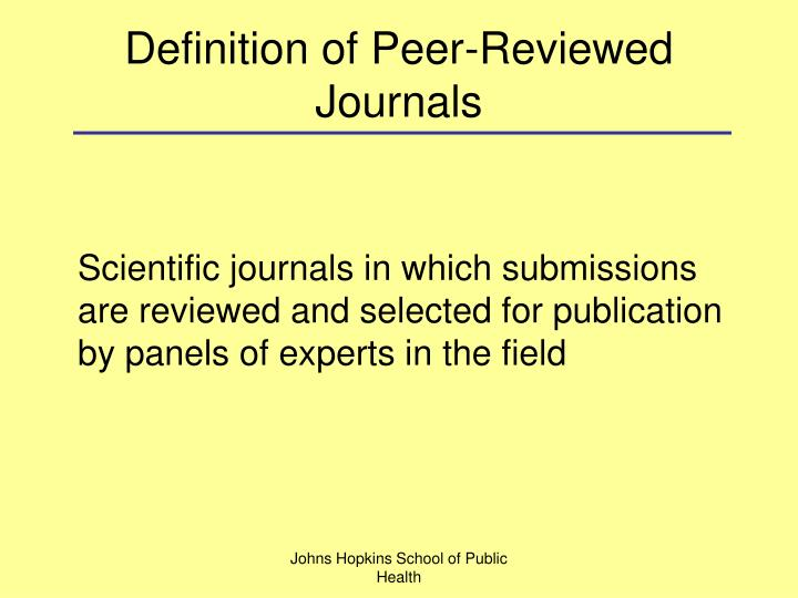 Definition of Peer-Reviewed Journals