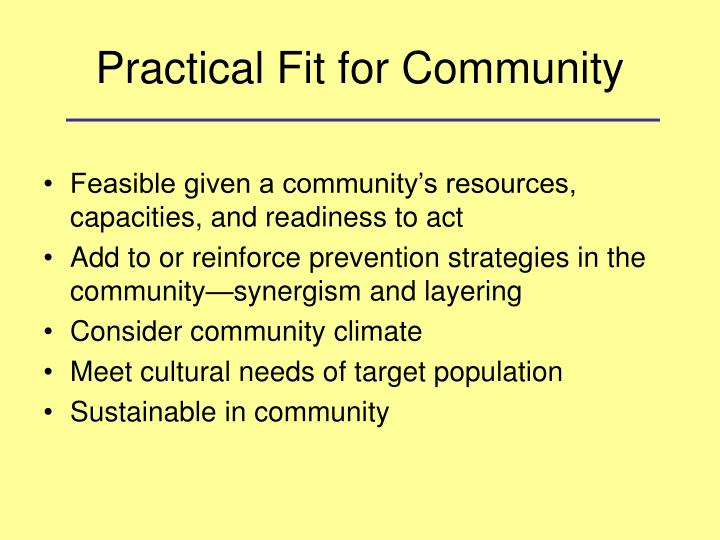 Practical Fit for Community